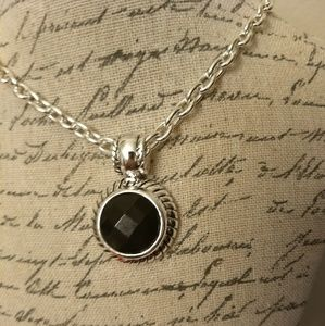 Jewelry - Black pendant on silver tone chains